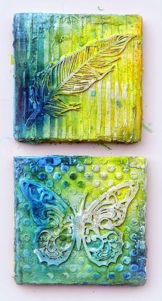 Solange Marques: Mixed Media canvas- Imaginarium Designs chipboards. Tutorial #imaginariumdesigns