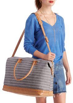 Canvas striped weekender bag with braid detail
