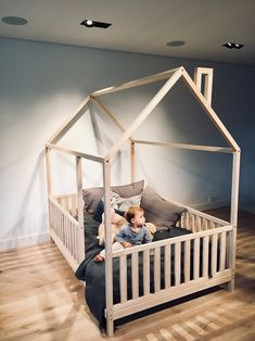 diy toddler bed boy - diy toddler bed ` diy toddler bed girl ` diy toddler bed boy ` diy toddler bed easy ` diy toddler bed rail ` diy toddler bed on floor ` diy toddler bed with storage ` diy toddler bed frame Toddler Bed Frame, Toddler House Bed, Diy Toddler Bed, Kids Bed Frames, Toddler Rooms, Toddler Beds For Boys, Full Size Toddler Bed, Floor Beds For Toddlers, Wooden Toddler Bed