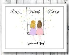 Best friend Gift- Best Friends- Wall Art- Gift For her- memories-personalised gift-gift for women-vintage- friends forever Personalized Best Friend Gifts, Bff Gifts, Sister Gifts, Personalized Wedding, Gifts For Friends, Button Family Picture, Family Picture Frames, Friends In Love, Best Friends