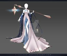 Moon priestess__(CLOSED) Adoptable Outfit Auction 192 by Risoluce on DeviantArt Dress Drawing, Drawing Clothes, Vestidos Anime, Kleidung Design, Style Feminin, Anime Dress, Poses References, Fantasy Dress, Fantasy Outfits