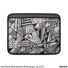 Cute black white abstract drawing patterns MacBook Air sleeve
