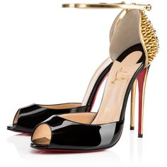 Christian Louboutin Pina Spike ($1,045) ❤ liked on Polyvore featuring shoes, christian louboutin, heels, louboutin, sandals, stiletto heel shoes, black stilettos, sexy black shoes, black heeled shoes and high heeled footwear