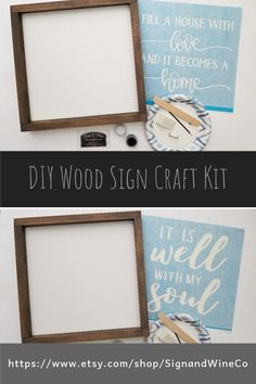 Make your own wood signs at home Wood Pallet Signs, Diy Wood Signs, Custom Wood Signs, Wood Signs For Home, Custom Stencils, Diy Workshop, Craft Night, Diy Wood Projects, Craft Kits