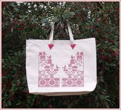 article a commander - Brigitte DADAUX Jute Bags, Couture, Crochet, Purses And Bags, Projects To Try, Reusable Tote Bags, Punto De Cruz, Dots, Red