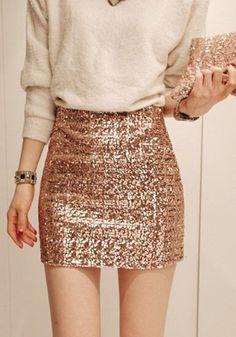 Rose Golden Pailletten Elastische Taille Schlank Bodycon Röcke mit Glitzer Sexy Rock Mode