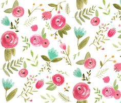 Dupe for Watercolor Peony at Anthropologie… Happy Floral fabric by pacemadedesigns on Spoonflower - custom fabric