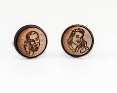 Vintage Style Wood Cufflinks -Retro Phone Call Cuff Links Unique Telephone Conversation Wooden Cufflinks on Etsy, $20.00