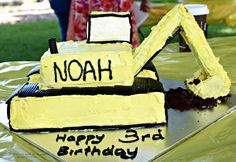 Excavator Cake - www.wendycoppola.com 4th Birthday, Birthday Cakes, Birthday Ideas, Excavator Cake, 3 Year Old Boy, Posts, Link, Desserts, How To Make