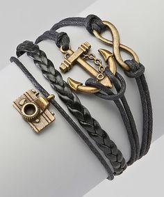 Gold & Black Camera & Anchor Bracelet by Bubbly Bows #zulily #zulilyfinds