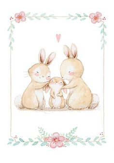 Childrens Art BUNNIES FAMILY Archival Print, Nursery Illustration. This family is so cute! Its a reproduction of my original illustration printed with detailed on special watercolor paper 200 g. honed natural white, acid-free and 100% cellulose, gives appearance of original painting