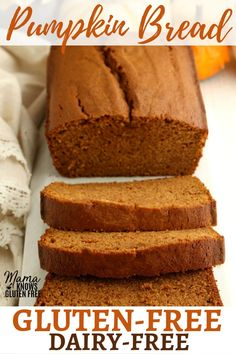 An easy Gluten-Free Pumpkin Bread recipe. This gluten-free pumpkin bread is moist, dense, full of pumpkin flavor, and is perfectly spiced. The recipe is also naturally dairy-free. Patisserie Sans Gluten, Dessert Sans Gluten, Gluten Free Sweets, Dairy Free Recipes, Gluten Free Xmas Baking, Gluten And Dairy Free Desserts Easy, Bread Recipes, Wheat Free Recipes, Egg Recipes