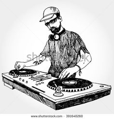 Illustration of DJ Doodle Art Drawing, Body Drawing, Drawing Sketches, Art Drawings, Character Drawing, Character Design, Beach Drawing, Dj Logo, Hip Hop Art
