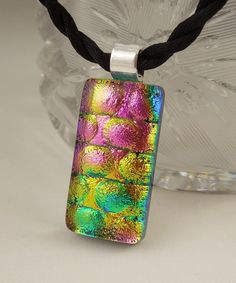 Pink Green Yellow Blue Necklace  Dichroic by GalaxyGlassStudio, $16.00