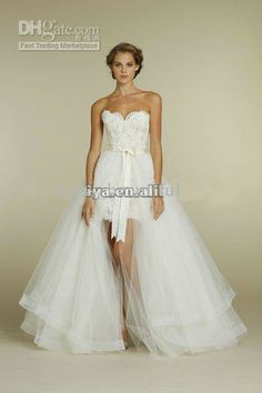 NEW Sweetheart Two Piece Design Lace Short/Mini Bridal Gowns Detachable Train Tulle Wedding Dresses.  Two piece Wedding Dress Convertible Wedding Dress. White Wedding dress. Wedding dress with detachable skirt.