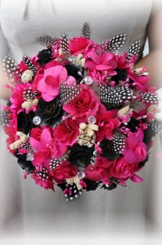 Wedding Bouquet made of Pink and Black Wooden Flowers and Feathers