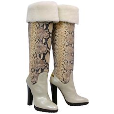 Pre-owned ROBERTO CAVALLI OVER-THE-KNEE SHEARLING and SNAKESKIN BOOTS ($1,595) ❤ liked on Polyvore featuring shoes, boots, accessories, sexy boots, sexy thigh high boots, tall boots, over the knee platform boots and thigh high heel boots