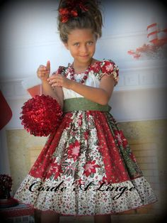 girls christmas dress merriment stripwork peasant children toddlers 2t 3t 4t - Girl Christmas Dresses