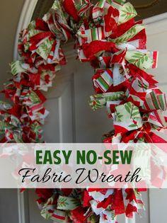 Easy Holiday Craft: No Sew Fabric Wreath