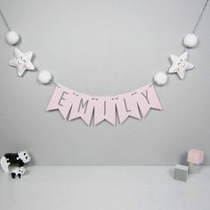 Personalised Star Name Bunting With Honeycomb Pom Poms