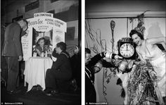 The cause and the cure Right, revellers welcome in 1956 with quaffs of champagne; left, a hangover booth for revelers who go to far on New Years Eve has been set up at the Cafe Zanzibar in 1945