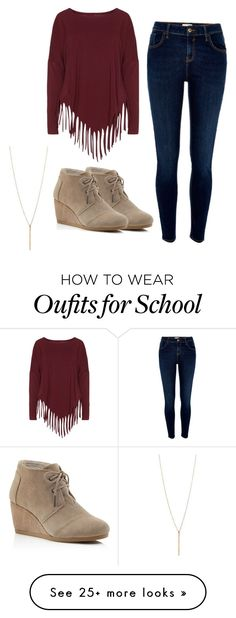 Autumn outfit featuring River Island, TOMS and Boris Back To School Outfits, Everyday Outfits, Outfits For Teens, Casual Outfits, Cute Outfits, Dress Casual, Hipster Fashion, Cute Fashion, Teen Fashion