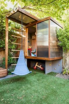 23 Awesome Kids Garden Ideas With Outdoor Play Areas outdoor ideas garden awesom. - 23 Awesome Kids Garden Ideas With Outdoor Play Areas outdoor ideas garden awesom… Check more at garten. Backyard Playhouse, Build A Playhouse, Backyard Playground, Backyard For Kids, Playhouse Ideas, Playground Ideas, Modern Backyard, Backyard Storage, Modern Playhouse