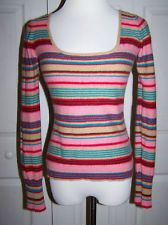 Anthropologie Plenty Tracy Reese Striped Cashmere Wool Blend Sweater Large