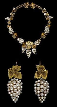 Grape necklace and earrings, c.1850 - England