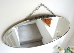 Large Vintage Oval Art Deco 20/30s Bevelled Wall Mirror Chrome Frame Crest Chain