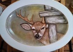 "Majestic deer platter hand painted in the USA. This majestic deer platter is a wonderful gift for that special man in your life. The platter is 12"" long and can be used for serving his favorite meal or displayed. This platter is hand painted with china ... - $79.85"