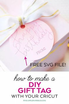 Free Happy Birthday SVG to use with Cricut or Silhouette Pens or We R Memory Keepers Foil Quill! Make your Own Gift Tag with a Free Happy Birthday Hand Lettered SVG by Pineapple Paper Co. #cricut #silhouette #silhouettecameo #cricutmade #cricutmaker #freesvgs #freesvg #svgfiles #svgdesigns #cricutsvgs #freecutfiles #foilquill #wermemorykeepers