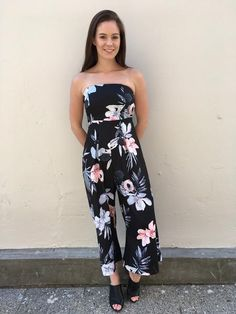 strapless culotte jumpsuit stretch back unlined - perfect for summer. pink floral print, black background