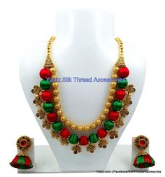 Yaalz Traditional Neckset & Matching Jumka in Red & Green Colors Silk Thread Bangles Design, Silk Thread Necklace, Thread Jewellery, Diy Jewelry, Handmade Jewelry, Silver Jewelry, Green And Gold, Red Green, Green Colors