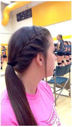 Braided Ponytail Hairstyles, Braided Hairstyles, Cool Hairstyles, Workout Hairstyles, Braided Cheer Hair, French Braid Ponytail, Teenage Hairstyles, Cute Volleyball Hairstyles, Cute Cheer Hairstyles