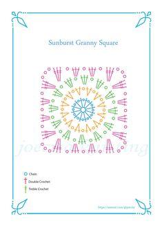 Granny Square Häkelanleitung, Granny Square Pattern Free, Crochet Blocks, Granny Square Crochet Pattern, Crochet Stitches Patterns, Crochet Diagram, Crochet Chart, Crochet Granny, Crochet Motif