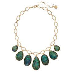 Dana Buchman Simulated Abalone Graduated Teardrop Necklace, Women's, Green