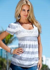 White & Grey Top With Lace by Venus -...   $21.00