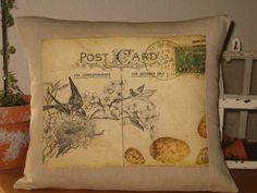 Decorative Pillow French  Postcard Bird Pillow Cover. $23.00, via Etsy.