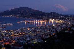Main Town of Zakynthos (Chora) at Night Late Summer, Summer Time, Zakynthos, Seattle Skyline, Sunny Days, Photo Credit, Maine, Greece, Scenery