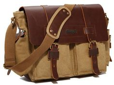 Old Fashion Finished Leather and Canvas Messenger Satchel #serbags