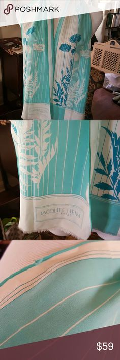 Fab Vintage Jacques Heim Patus,silk scarf Really good vintage condition with fringe on bottom. 8 inches across and approximately 52 inches long. This is a real treasure and quite rare. Reasonable offers only Vintage Accessories Scarves & Wraps