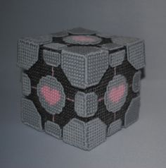 Plastic canvas companion cube box. 4 inches square. 60 pieces all together.