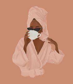 Treat Yourself Mini Art Print by Rachel Szo - Without Stand - x Black Girl Art, Black Women Art, Black Girl Magic, Art Girl, Black Art, Art And Illustration, Portrait Illustration, Art Illustrations, Feminist Art