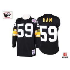 2489cd715e7 Jack Ham Men s Authentic Black Jersey  Mitchell and Ness NFL Pittsburgh  Steelers Home Throwback