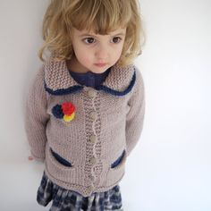 NEW - Cardigan with Pom Pom Brooch - girl sweater size 3-4 - natural wool