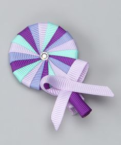 Take a look at this Monkey Loves Bownanas Purple Lollipop Clip by Monkey Loves Bownanas on today! Ribbon Art, Diy Ribbon, Ribbon Crafts, Grosgrain Ribbon, Candy Hair, Hair Bow Tutorial, Ribbon Sculpture, Ribbon Hair Bows, Making Hair Bows