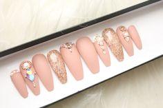Nude Matte Swarovski Press on Nails | Genuine Swarovski | Rose Gold | Glitter | Handpainted Nail Art | Glue On Nails | Any Shape Size by DippyCowNails on Etsy