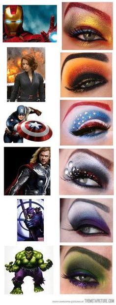 Avengers makeup. I really love the detail on the Thor one! I like the colors of the Iron Man, Hawkeye, and Hulk ones as well.