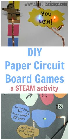 DIY Paper Circuit Board Games, a Kids STEAM Activity. Kids and students create, design and engineer with paper electric circuits. Easy and fun STEM and STEAM activity for the classroom or home. Science Games For Kids, Preschool Science Activities, Steam Activities, Teaching Science, Learning Activities, Science Experiments, Science Room, Science Labs, Articulation Activities